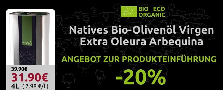 20% Rabatt auf Bio-Olivenöl Virgen Extra OLEURA - ANGEBOT ZUR PRODUKTEINFÜHRUNG