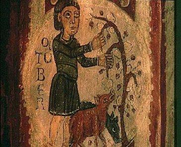Mittelalterlicher Abdruck eines Bauern bei der Eichelmast einiger Schweine