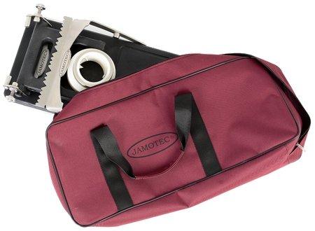 Der Schinkenhalter, zusammengeklappt und in seiner Transporttasche