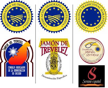 Sellos y etiquetas de los diferentes tipos de jamón