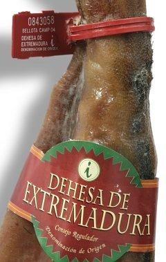 Gütesiegel (Plastik) und Banderole (Papier) die die Bellota-Qualität Jamon bescheinigen, mit der Herkunftsbezeichnung Dehesa de Extremadura